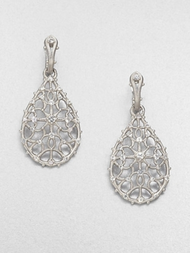 White Sapphire & Sterling Silver Teardrop Earrings