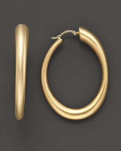 14K Gold Large Oval Matte Hoop Earrings with Satin Finish