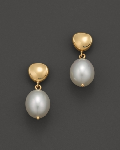 14K Yellow Gold And Round Pearl Drop Earrings