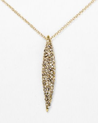 Alexis Bittar Crystal Encrusted Gold Spear Pendant Necklace, 16