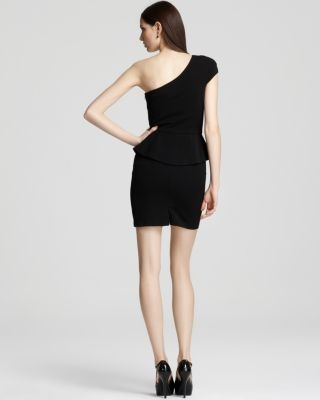 Black Halo One Shoulder Dress - Sheridan Peplum