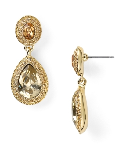 Carolee Topaz Crystal Stone Double Drop Earrings