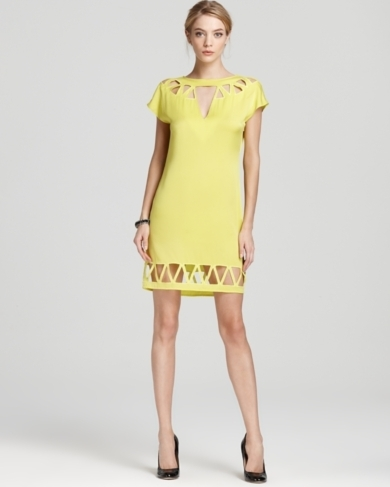Catherine Malandrino Cap Sleeve Dress - with Triangle Cut Out