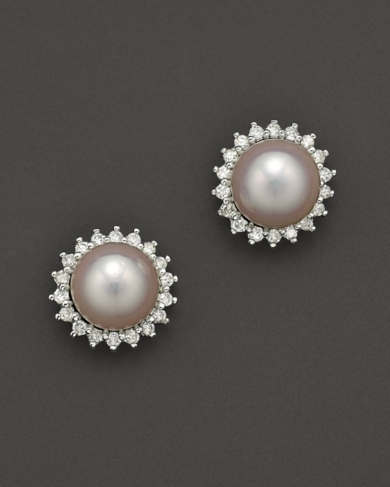 Cultured Pearl Earrings with Diamonds, 6.5-7mm
