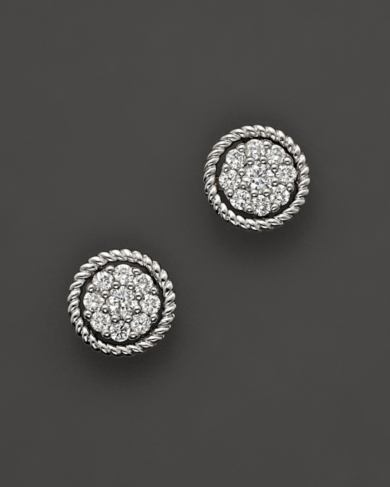 Diamond Cluster Earrings Set In 14K White Gold, 0.30 ct. t.w.