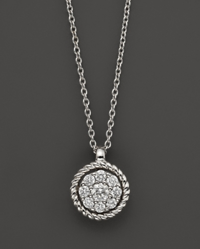Diamond Cluster Pendant Set In 14K White Gold, 0.20 ct. t.w.