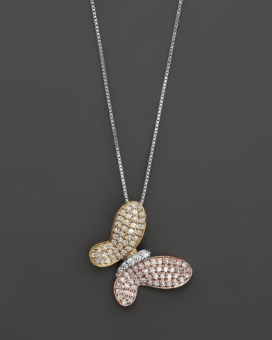 Diamond Pave Butterfly Pendant in 14 Kt. White, Yellow and Rose Gold, 0.40 ct. t.w.