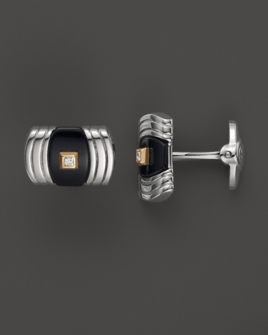 Dolan Bullock Sterling Silver And 14K Gold Cuff Link Set With Onyx And Diamond