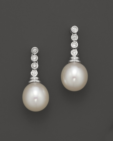 Freshwater Pearl and Diamond Drop Earrings
