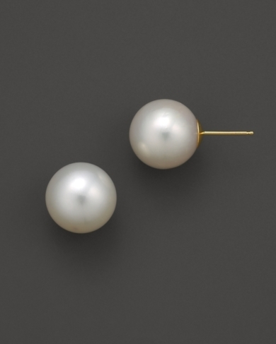 Freshwater Pearl Stud Earrings Set In 14K Yellow Gold