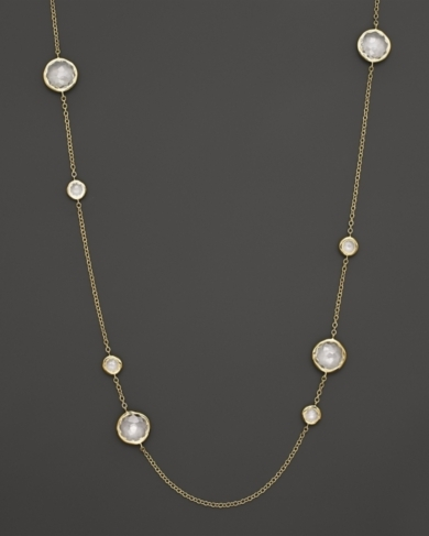 Ippolita 18K Gold Lollipop Station Necklace in Clear Quartz, 37