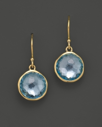Ippolita 18K Gold Mini Lollipop Earrings in Blue Topaz