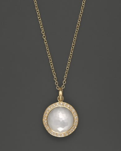Ippolita 18K Gold Mini Lollipop Pendant Necklace in Mother-Of-Pearl with Diamonds