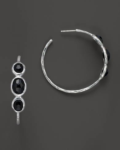 Ippolita Rock Candy Three Stone Hoop Earrings with Black Onyx