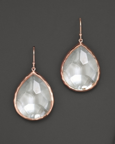 Ippolita Ros Large Teardrop Earrings with Clear Quartz