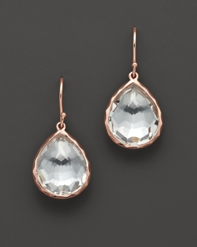 Ippolita Ros Small Teardrop Earrings with Clear Quartz
