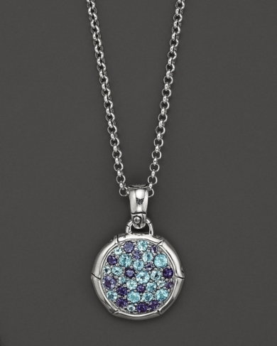 John Hardy Bamboo Silver Lagoon Colorway Small Round Pendant with Swiss Blue Topaz and Iolite on Cha