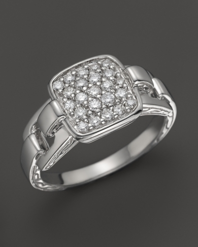 John Hardy Classic Chain Silver Rectangular Ring with Diamond Pave, 0.32 ct. t.w.