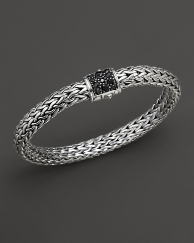 John Hardy Medium Chain Bracelet with Black Sapphire Clasp