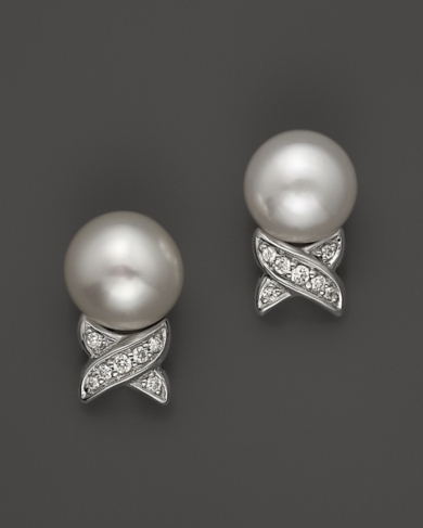 Lagos Sterling Silver Luna Button Pearl Diamond X Earrings
