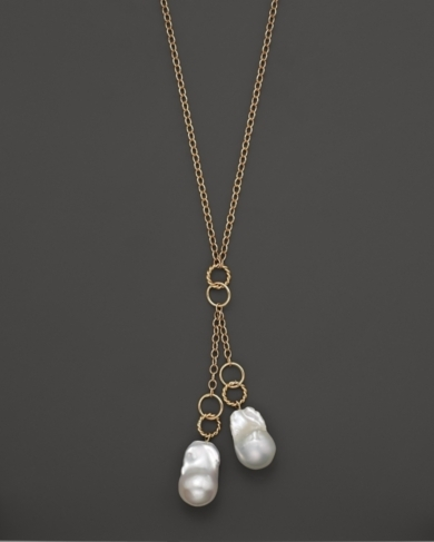 Madison 14K Yellow Gold Heavy Twist Link Baroque Pearl Lariat, 24