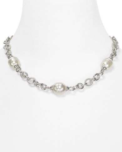 Majorica 14/16MM Pearl Silver Chain Necklace, 17