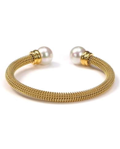 Majorica Gold Stainless Steel and White Pearl Bangle