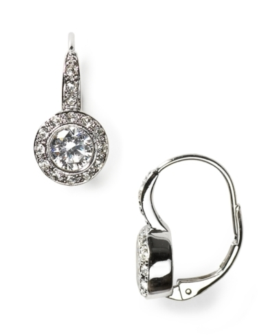 Nadri Crystal and CZ Leverback Earrings