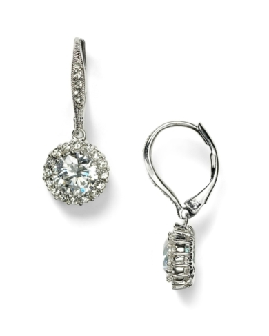 Nadri Round Frame Cubic Zirconia Leverback Earrings