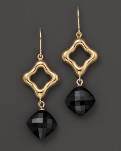 Open Diamond-Shaped Onyx Earrings