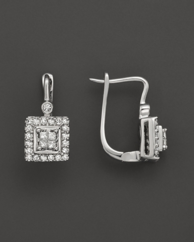 Princess Cut Diamond Earrings In 14K White Gold, .30 ct. t.w.