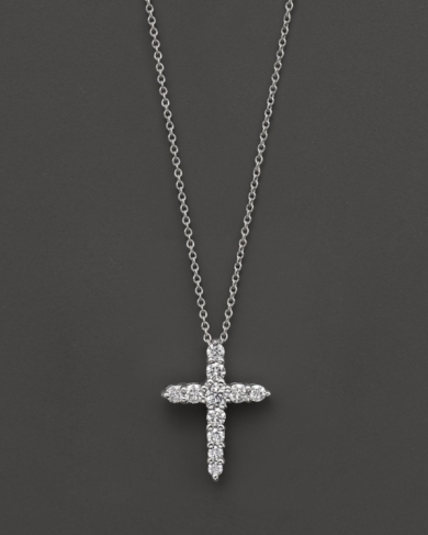 Roberto Coin 18 Kt. White Gold Diamond Cross Necklace