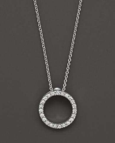 Roberto Coin 18 Kt. White Gold/Diamond Extra Small Circle Necklace