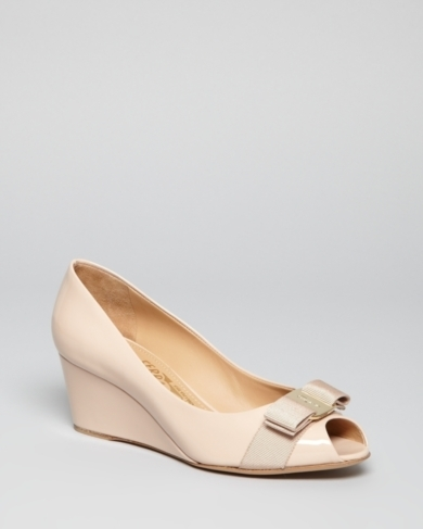 Salvatore Ferragamo Peep Toe Wedge Logo Pumps - Sissi Mid Heel
