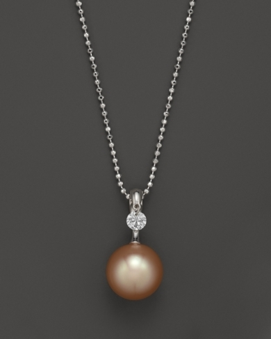 Tara Pearls 18K White Gold, Diamond and Peach Cultured Freshwater Pearl Necklace, 18