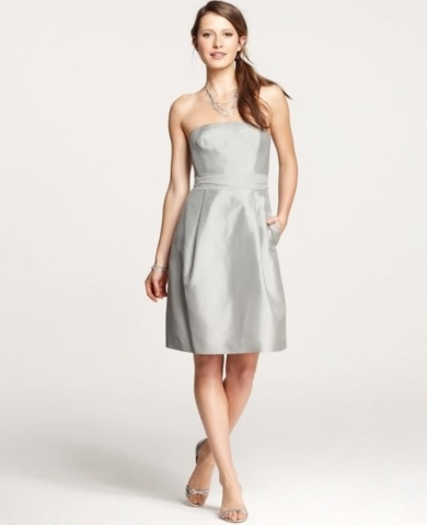 Silk Dupioni Strapless Dress