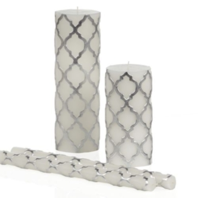 "Mimosa Candle Collection - Silver - 12"" Tapers - Set of 2"