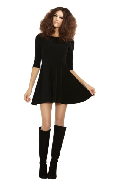 3/4 SLEEVE FLOUNCE DRESS