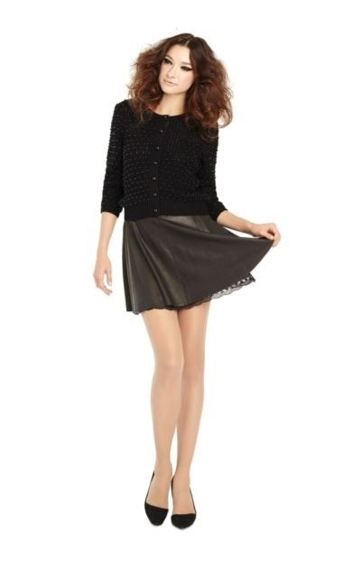 BLAISE LEATHER SKIRT WITH LACE HEM