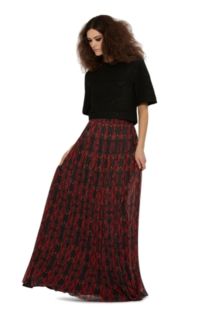 CAPRICE WIDE WAIST BAND PLEATED MAXI SKIRT
