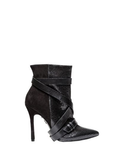 DOLAN SHINY LEATHER AND SUEDE BOOTIE