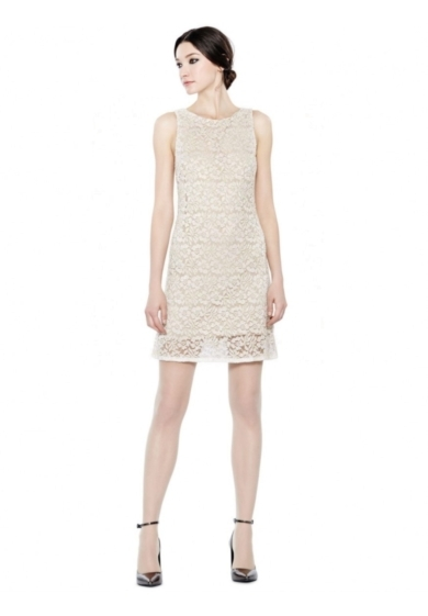 DOT EMBELLISED SLEEVELESS SHIFT DRESS