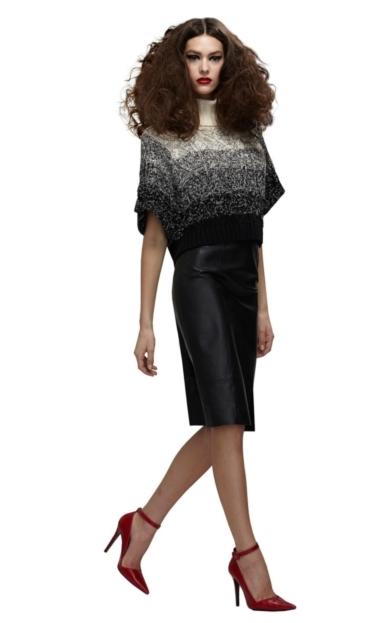 LEATHER LONG PENCIL SKIRT WITH SLIT