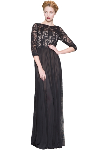 ROBINSON BOATNECK SHEER NECK GOWN