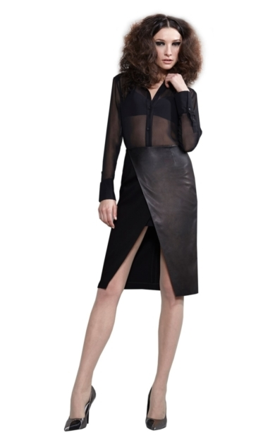 VENTY CROSS OVER PENCIL SKIRT WITH LEATHER