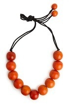 Large Wood Bead Necklace - Cayenne
