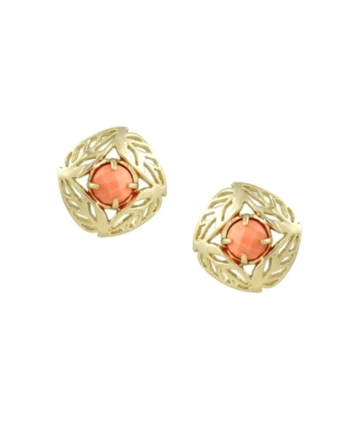 April Stud Earrings in Coral