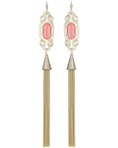 Erin Long Earrings in Iridescent Tangerine