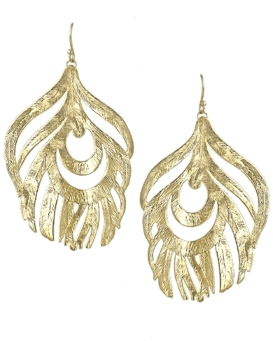 Karina Feather Earrings in Gold