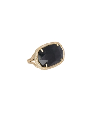Pave Oval Cocktail Ring in Black Tourmaline - 6